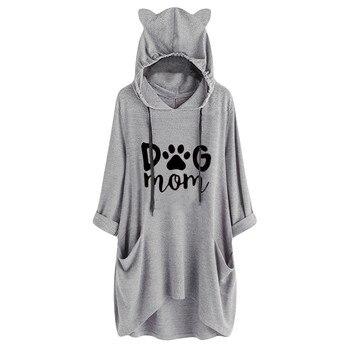 цена на Women Casual Hooded Long Sleeves Cat Ear Print Pocket Shirt Irregular Top Blouse Sweatshirt Girl Casual Clothes Hooded #XT