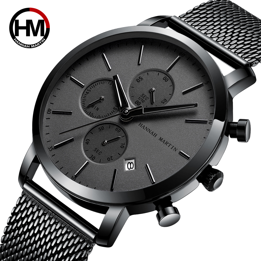 Dial Calendar Watch Men Multifunction Stainless Steel Mesh Strap Business Casual Waterproof Wrist Watches Relogio Masculino