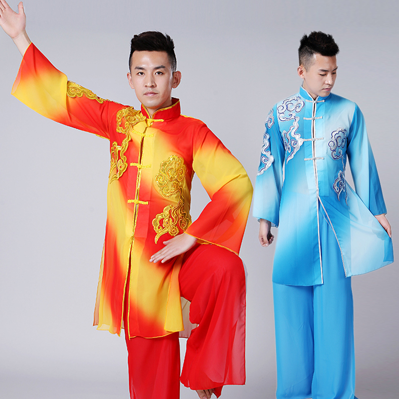 2019 Chinese Tai Chi Wushu Shaolin Tang Suit Kung Fu Uniform Wing Chun Costumes Martial Arts Clothes Embroidered Demo Outfit Men