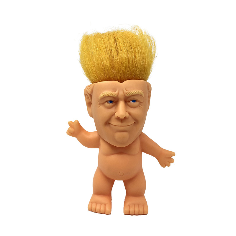 10cm eua donald trump figura de ação troll boneca figuras cabelo para o chefe trolls sorte brinquedos engraçados brinquedos descompressão