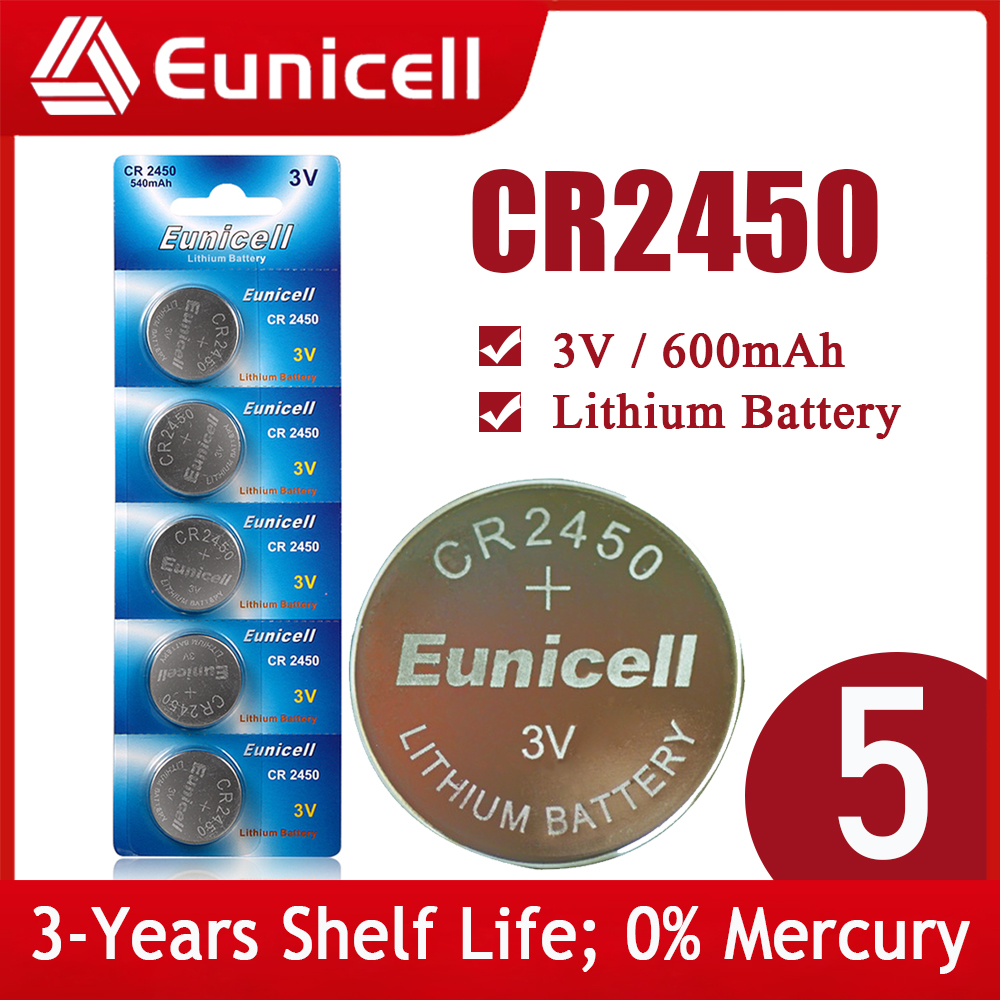 Eunicell NEW 5PCS CR2450 Watch Battery KCR2450 5029LC LM2450 DL2450 ECR2450 BR2450 CR 2450 3V 600mAh Lithium Coin Cell Batteries