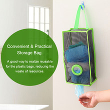 Home Kitchen Hanging Bag Storage Organizer Dispenser Breathable Mesh Grid Garbage Bags Convenient Extraction Pouch Bag(China)