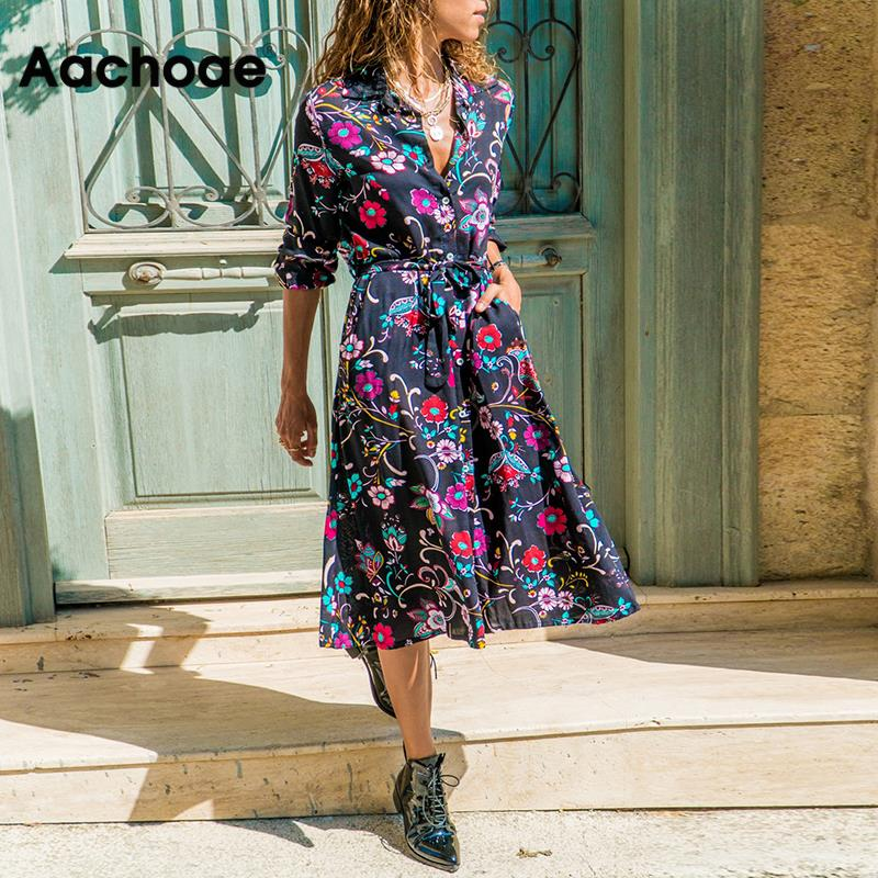 2020 New Spring Women Floral Print Dress Casual Loose Long Sleeve Midi Shirt Dress Vintage Turn-down Collar Lady Office Dresses