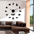 Стикер на стену с кошкой в английском стиле  большие настенные часы «сделай сам» с серыми кошками  без оправы  с цифрами в виде кота  современ...