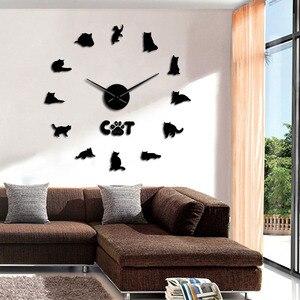 Стикер на стену с кошкой в английском стиле, большие настенные часы «сделай сам» с серыми кошками, без оправы, с цифрами в виде кота, современ...