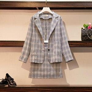 Image 4 -  2 Pieces Set Coat and Skirt Women Sets Plaid Skirt Suits Two piece Suit Casual Business Blazer Ladies Plus Size XL 5XL