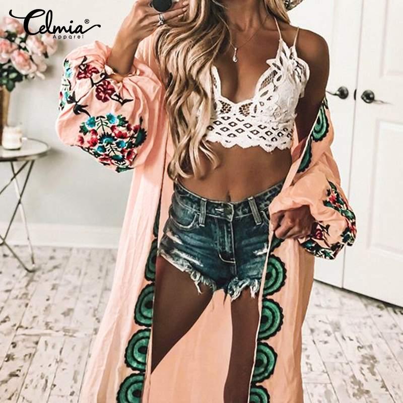 2020 Summer Tops Women Bohemian Cardigan Kimono Printed Long Blouses Shirts Celmia Belt Casual Loose Blusas Femininas Plus Size