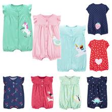 Jednoczęściowe kombinezony odzież dla niemowląt śpioszki dla niemowląt z krótkim rękawem dla niemowląt odzież dla dziewczynek kombinezony dla noworodka śpioszki dla niemowląt kombinezony tanie tanio ALIJUTOU COTTON Moda 140g Cartoon O-neck Unisex Bez rękawów Pasuje prawda na wymiar weź swój normalny rozmiar