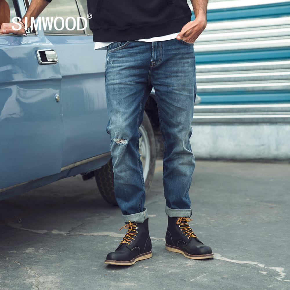 SIMWOOD 2020 Spring Slim-Fit Tapered Little Stretch-Denim Jeans Men Ripped Hole Fashion Plus Size Denim Trousers SJ110140