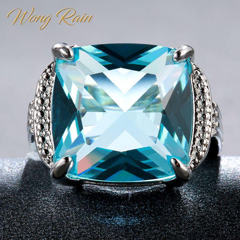 Wong Rain Vintage 925 Sterling Silver Aquamarine Gemstone Wedding Engagement Diamonds White Gold Ring Fine Jewelry Wholesale