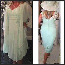 2019 New Designer Champagne Plus Size Mother of the Bride Dresses Lace Applique 3/4 Sleeves Tea Length Wedding Guest Gown Formal