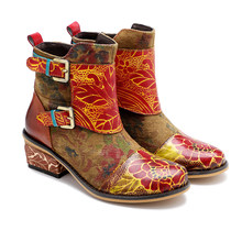 Iliyah Bohemian Cowboy Genuine Leather Ankle Boots Women Shoes Handmade Flower Zipper Flat Heels Women Boots Spring 2020 Botas(China)