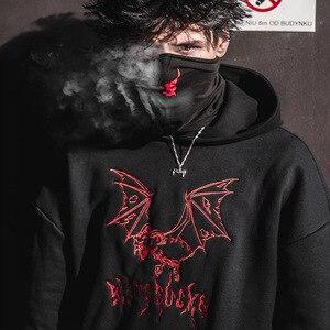 Image 5 - Coolแฟชั่นGothicแพะปีศาจค้างคาวเย็บปักถักร้อยPulloverเสื้อกันหนาวสีดำHeavyโลหะสไตล์Hoodies Sudadera Punkขนแกะ
