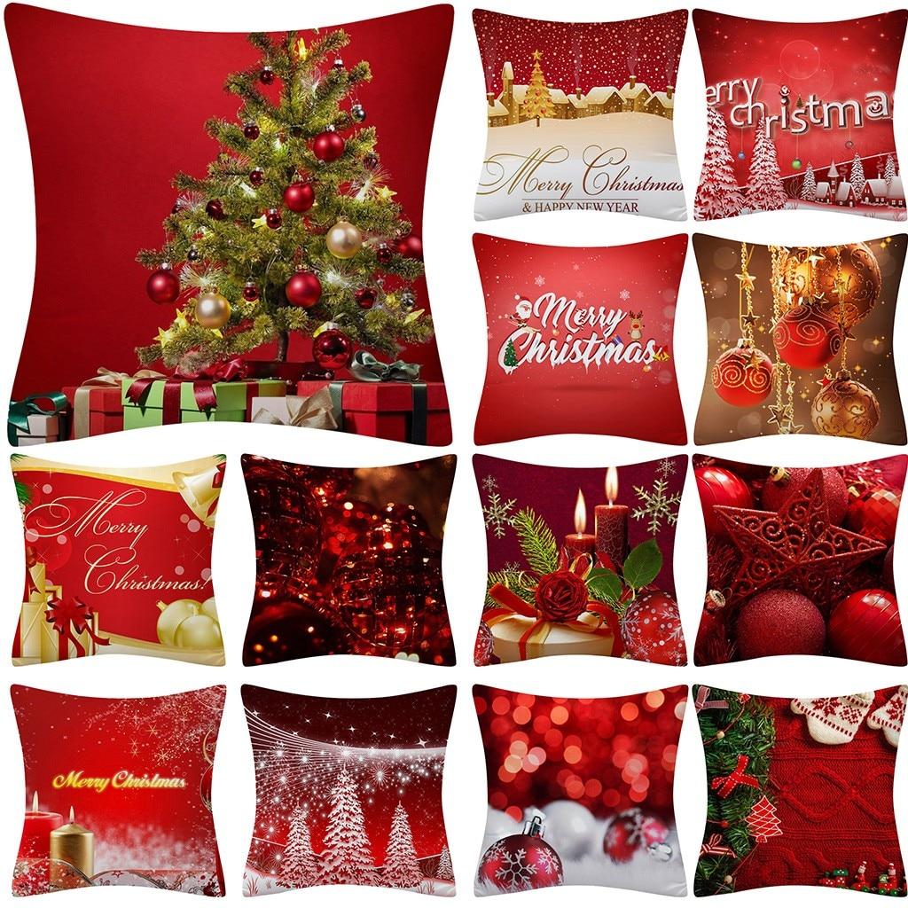 Christmas Pillow Case Glitter Polyester Sofa Throw Cushion Cover Home Decor Christmas Decorations For Home Boże Narodzenie