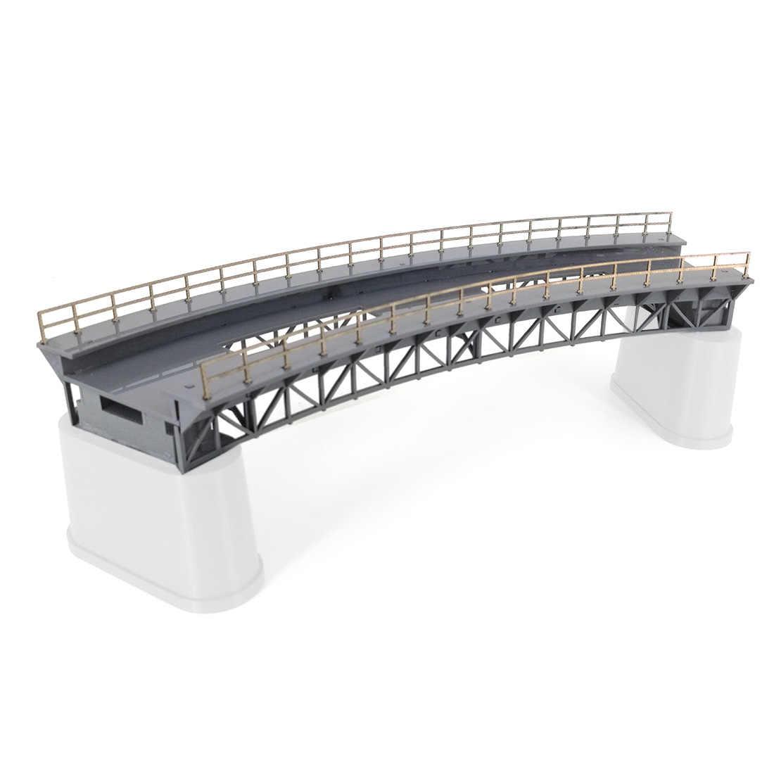 Wysokiej jakości skala 1: 87 HO pociąg kolejowy klimatyczna dekoracja Q4 R1 zakrzywiony most kolejowy Model bez molo piasek akcesoria stołowe