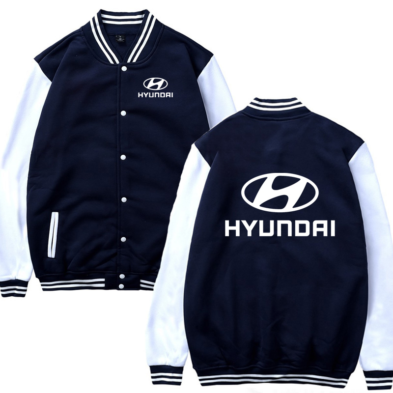 Mens Baseball Jacket Hyundai Car Logo Print Casual Hip Hop Harajuku Sweatshirts Mens Baseball Uniform Slim Fit Unisex Clothing