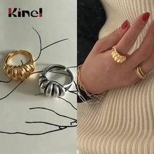Kinel 925 пробы серебряные выпуклые широкие кольца из 18 каратного
