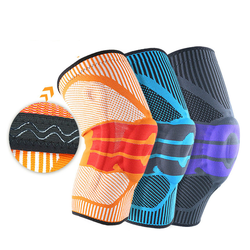 Silicone Knee Sleeve Sports Kneepad Weaving Knee Pads Supports Brace Basketball Climbing Leg Running Sleeves Anti Friction