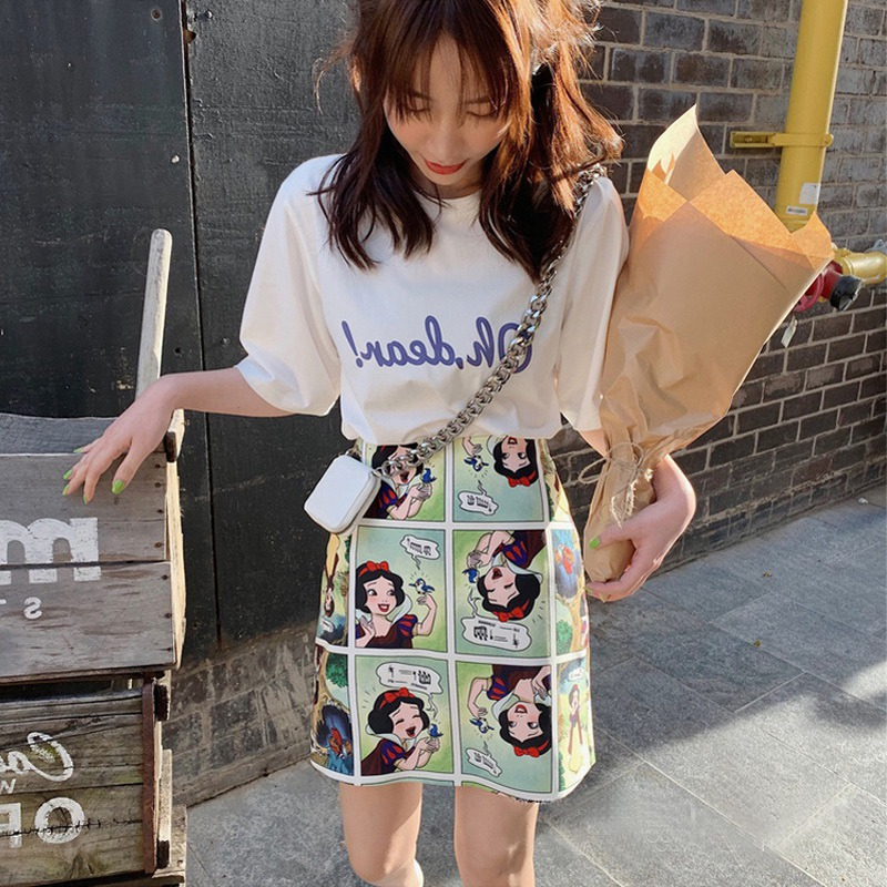 Snow White Retro Skirt Comic Print High Waist Wild A Line Skirt Fashion Women Bodycon Mini Skirts 5