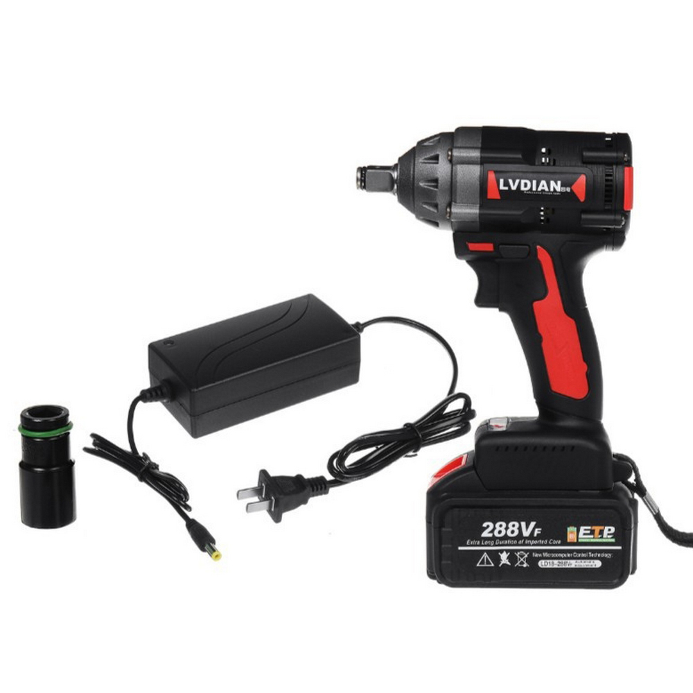 18V 630N.m 288VF Cordless Electric Impact Wrench Electric  Rechargeable Wrench Brush With Li-ion Battery Power Tools 220V