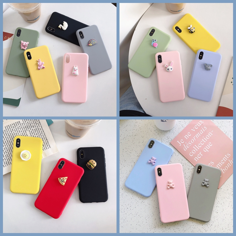 3D Cute Pig Dog Panda Bear DIY Case For Samsung Note 10 S10 S9 S8 Plus Note 9 Note8 Pizza Burger Cake Cover Kawaii Soft Case