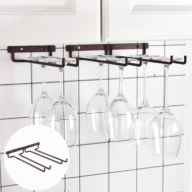 1Pc Creative Wall-mounted Kitchen Dual Row Wine Glass Holder Bar Goblet Cup Hanging Storage Rack
