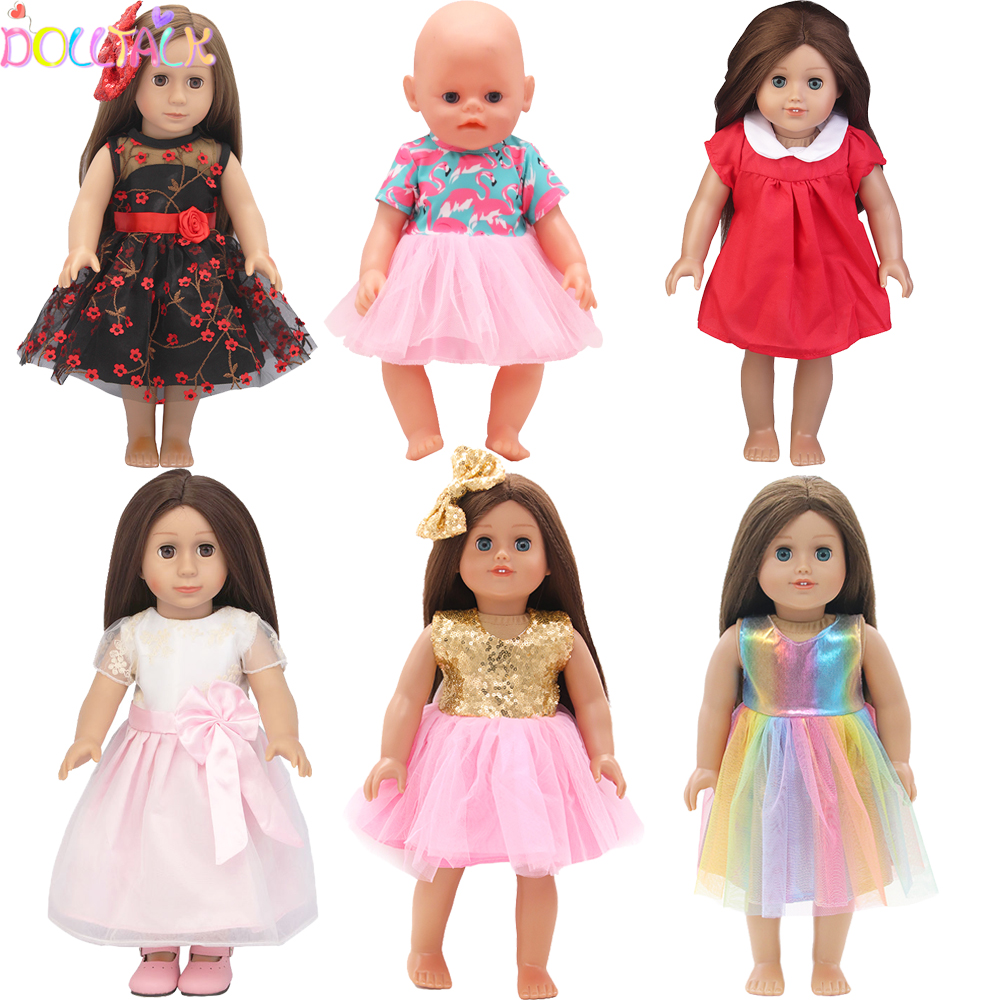 15 Colors Princess Doll Dress Doll Clothes For 43cm Baby New Born Doll Pink Dress For 18 Inch Girl Doll Dress Free Shipping(China)