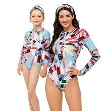 Модные купальники с длинным рукавом для мамы и дочки семейные