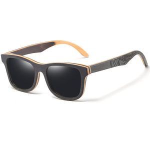 Image 5 - GM Polarized Sunglasses Women Men Layered Skateboard Wooden Frame Square Style Glasses for Ladies Eyewear In Wood Box S5832