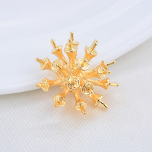 (277)6PCS 19x19MM 24K Gold Color Plated Brass Flower Bud Pins Connector Charms Pendants High Quality DIY Jewelry Making Findings