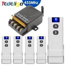 Tedeligo Wireless 433MHz On Off Switch RF telecomando trasmettitore modulo ricevitore AC 110V 220V 1ch 30A per casa intelligente leggera