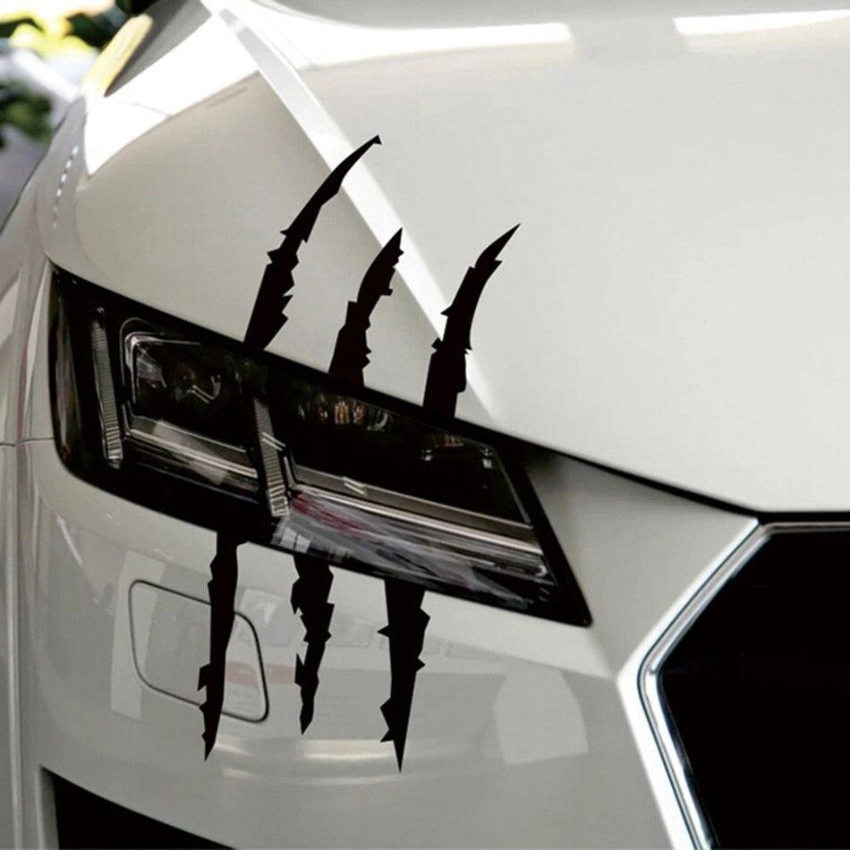Adhesivo divertido de 37cm x 9cm para coche, tira tipo arañazo reflectante de monstruo, marcas de garra, decoración de faros de coche, pegatina pegatinas para coche