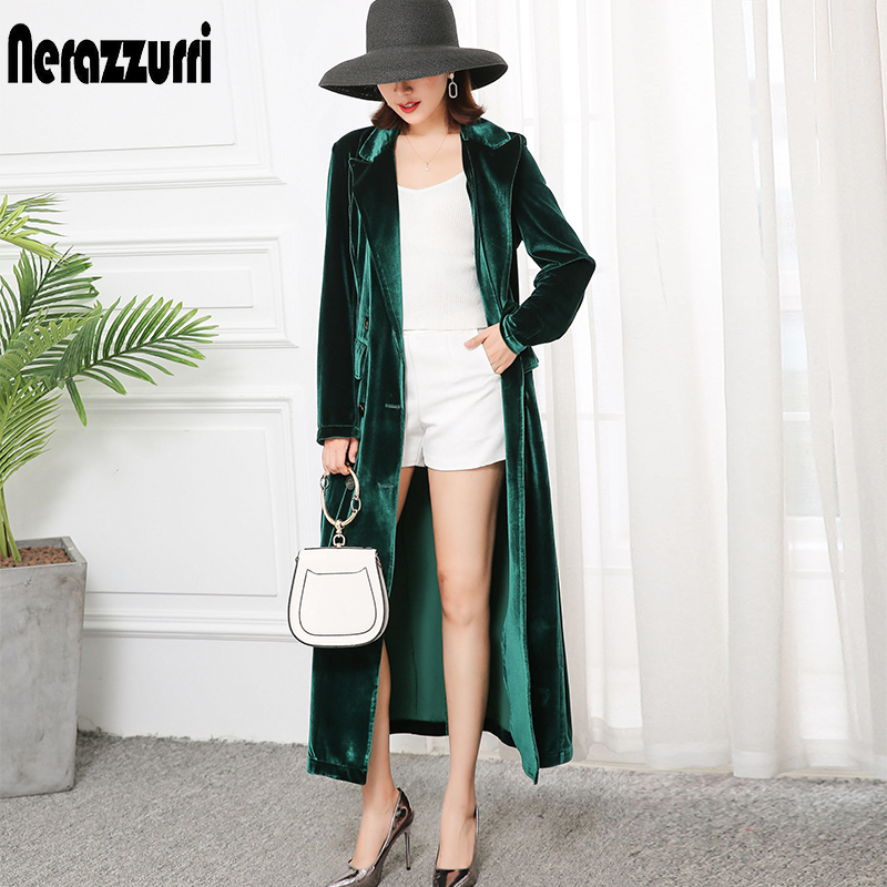 Nerazzurri High Quality Trench Coat For Women Fall 2019 Peaked Lapel Plus Size Long Overcoat British Style Velvet Blazer 5xl 6xl