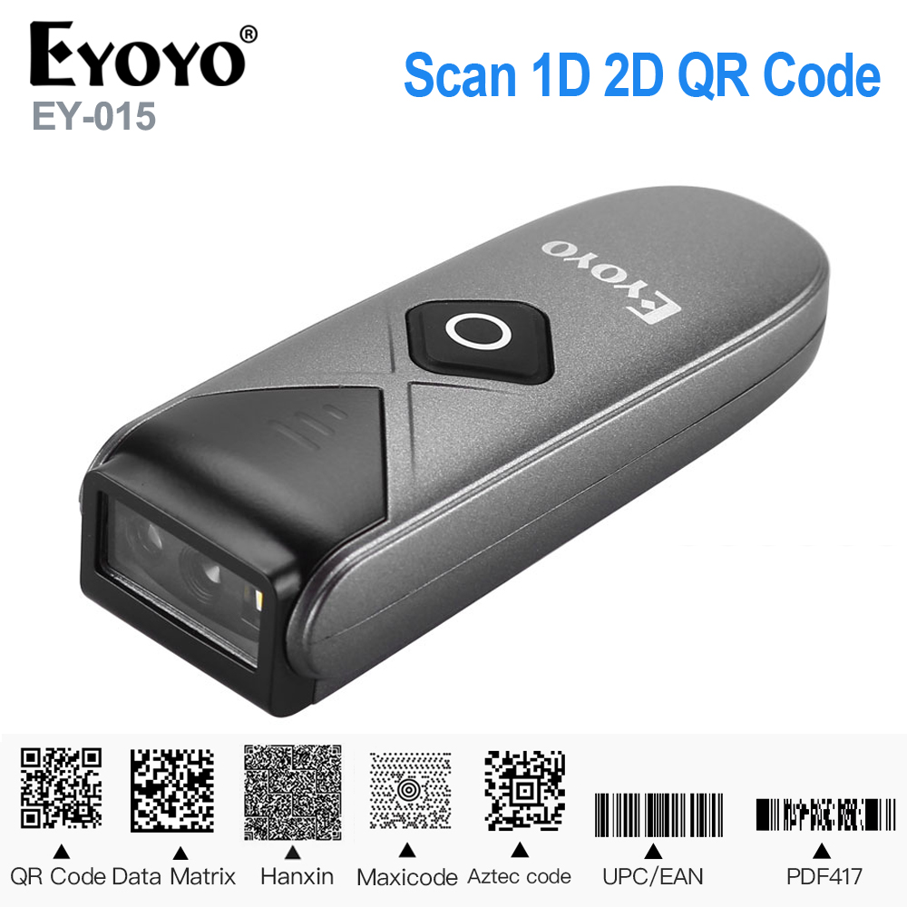 Eyoyo EY-015 Mini Barcode Scanner USB Wired/Bluetooth/ 2.4G Wireless 1D 2D QR PDF417 Bar code for iPad iPhone Android Tablets PC