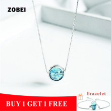 ZOBEI 925 Sterling Fine Jewelry Unique Design Round   Pendant Blue Agate Necklaces For Women Party Gift