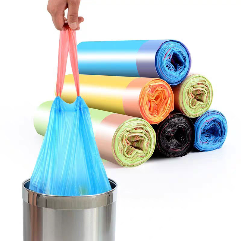 Household Compostable Biodegradable Plastic Garbage Trash Bin Bags With Handles And Drawstring 1Roll/15pcs Bags