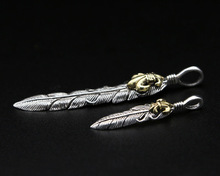 Pure 925 Sterling Silver Men Women Vintage Feather Eagle Necklace Pendant Jewelery vintage feather necklace