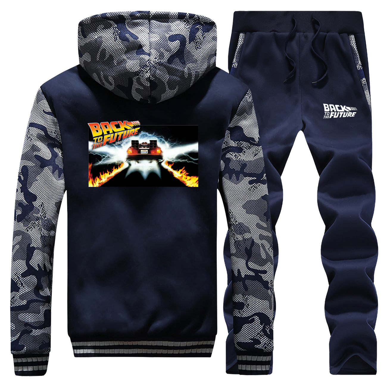 New Winter 2019 Coat Thick Back To The Future Car Mens Hoodies Funny Camouflage Sportswear Suit Warm Jacket+2 Piece Set Pants