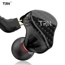 Trn h2 in ear fone de ouvido unidade dinâmica fone execução esportes fone de ouvido baixo alta fidelidade destacável detach 2pin cabo x6 v80 v90 v3