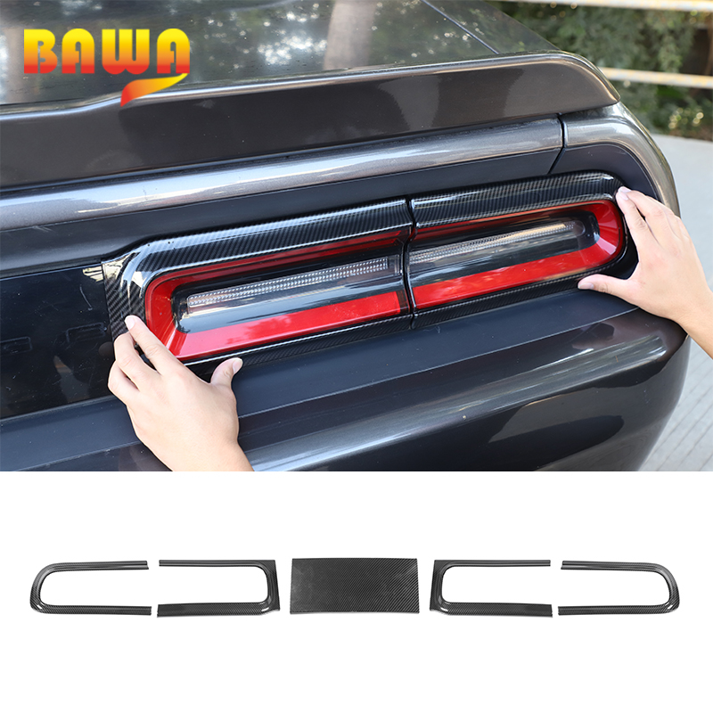 BAWA Tail Light Decorative Sticker For Dodge Challenger 2015+ Carbon Fiber Grain Car Rear Lights Cover Trim For Dodge Challenger