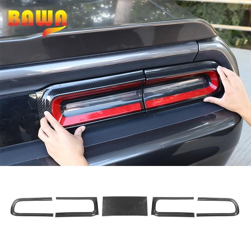 BAWA Tail Light Decorative Sticker For Dodge Challenger 2015+ Carbon Fiber Grain Car Rear Lights Cover Trim For Dodge Challenger