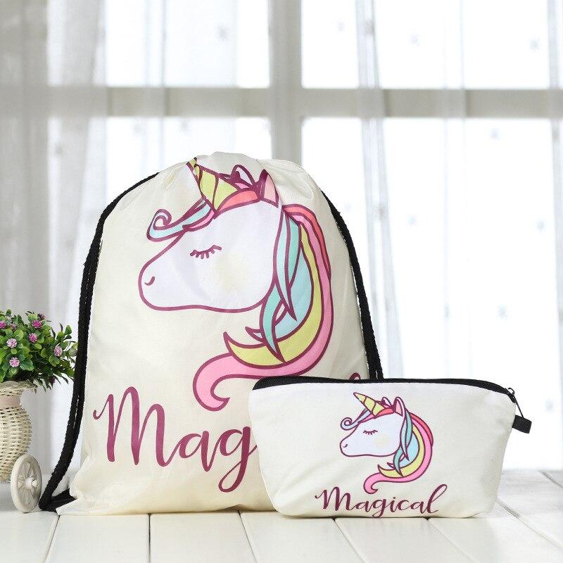 Bags Cosmetic Suit Backpack Drawstring Bag 3D Unicorn Printing Cat Women Daily Casual Mochila Knapsack Feminina Bundle Pocket