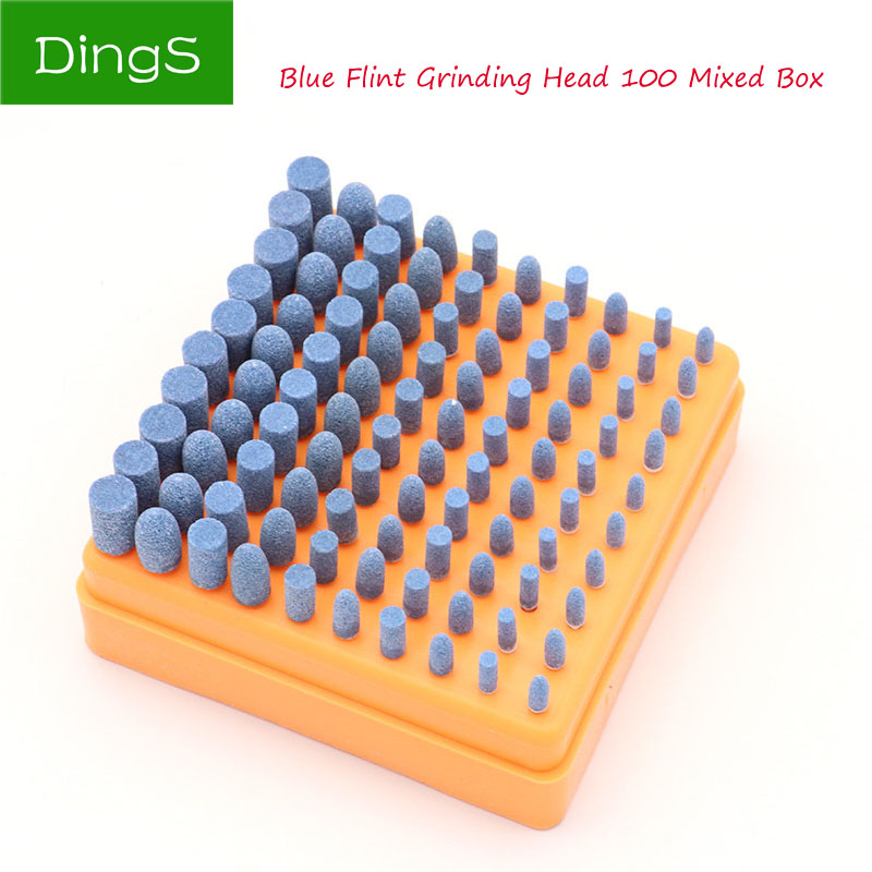 100pcs Abrasive Stone Points Polishing Grinding Head Set Electric Bule Drill Bit Wheel For Dremel Rotary Accessories Power Tools