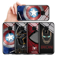For Huawei Mate 8 9 10 Lite Phone Case Nova 2i Mate10 Pro Cover Marvel Avengers Superhero Ironman Pattern Tempered Glass Casing(China)