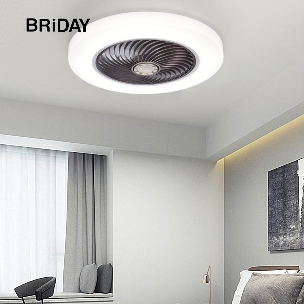 Smart Ceiling Fan Fans With Lights Remote Control Bedroom Decor Ventilator Lamp 46cm Air Invisible Blades Retractable Silent