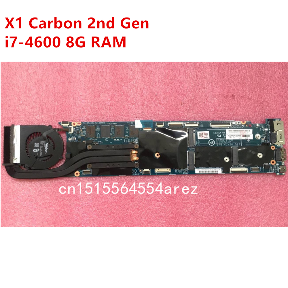 Original Laptop Lenovo ThinkPad X1 CARBON TYPE 20A7 20A8 Motherboard Mainboard I7 I7-4600 CPU 8GB With Fan FRU 00UP985