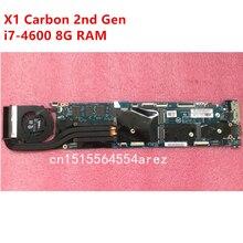 원래 노트북 레노버 씽크 패드 X1 탄소 2 세대 유형 20A7 20A8 마더 보드 메인 보드 i7 i7 4600 CPU 8GB 팬 FRU 00UP985