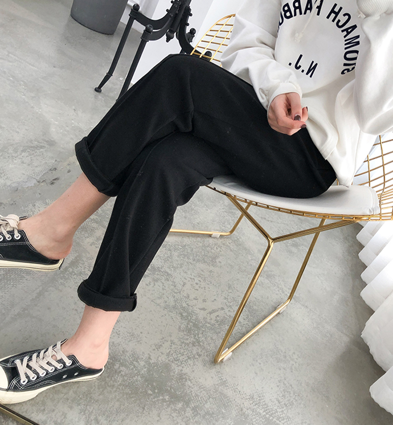 Ha13f4c8a095a4262959c585af53990c65 - Thicken Women Pencil Pants Autumn Winter Plus Size OL Style Wool Female Work Suit Pant Loose Female Trousers Capris 6648 50