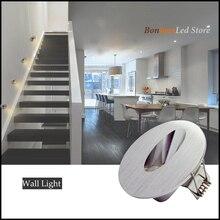 1 Вт/3 Вт Встраиваемый светодиодный светильник для лестницы круглый Угловой настенный светильник лестничные ступеньки лестничная лестница Прихожая лестница лампа AC85-265V