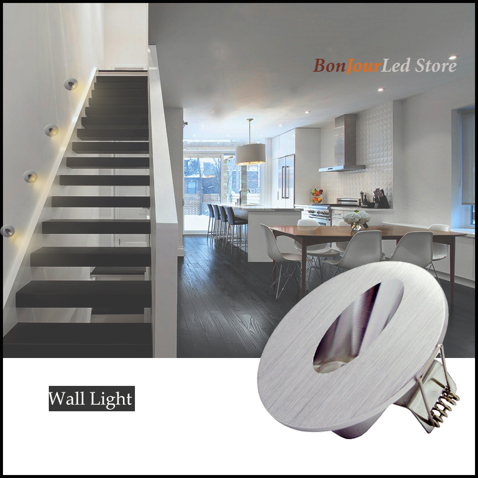 Free Shipping 1w/3w Recessed Led Stair Light Round Corner Wall lights Stairs Step Stairway Hallway staircase lamp AC85-265V